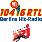 104.6 RTL logo, Berlins Hit-Radio slogan, ENERGY logo, NRJ logo