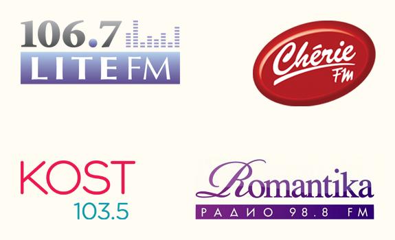106.7 Lite fm logo, Chérie FM logo, KOST 103.5 logo, Radio Romantika logo