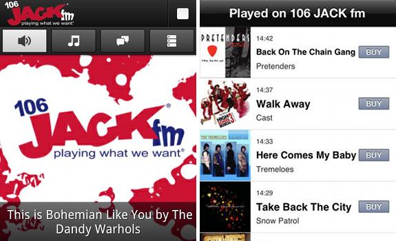 106 JACK fm Oxfordshire, iPhone app, music playlist