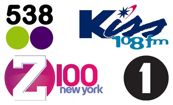 538 logo, Kiss 108 logo, Z100 logo, BBC Radio 1 logo