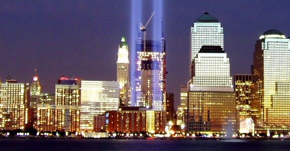 9/11 Tribute in Light, New York City skyline