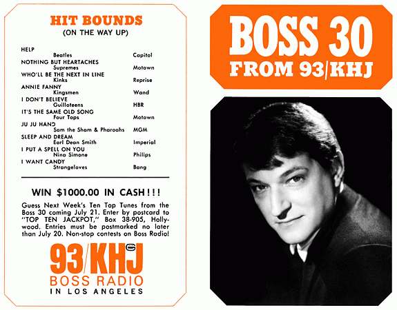 93 KHJ, Boss Radio, Boss 30, Hit Bounds, Top Ten Jackpot, The Real Don Steele, promotion flyer