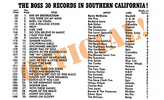 93 KHJ, Boss Radio, Boss 30, The Boss 30 Records in Southern California, music playlist, promotion flyer