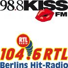 98.8 KISS FM logo, 104.6 RTL logo