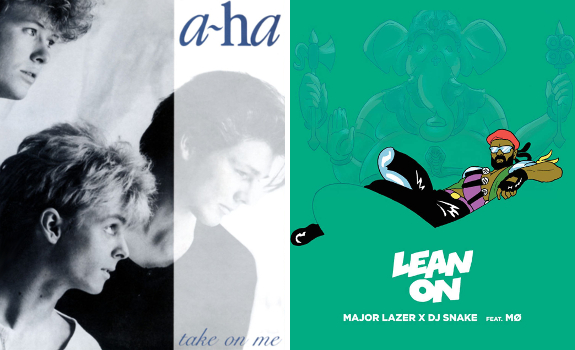 Going from A-Ha 'Take On Me' to Major Lazer 'Lean On' (without a talk break or station imaging in between) does not guarantee the best musical transition (images: Warner Bros., Warner Music Group)