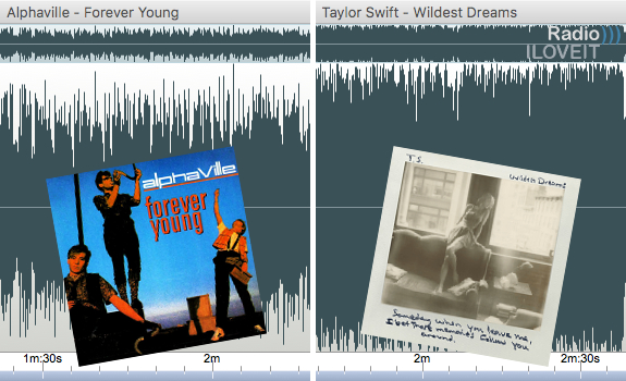 Going from an 80s classic to a current hit usually requires both dynamic gain control and dynamic equalisation control, even if the differences between these 1984 and 2015 songs are not so huge (when comparing the dynamic range of the loudest parts of these songs, as seen above) as I expected when I mentioned these songs during the interview (images: Thomas Giger, WEA, Republic Records)
