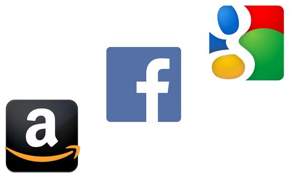 Amazon logo icon, Facebook logo icon, Google logo icon