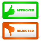 approved, thumb up green, rejected, thumb down red