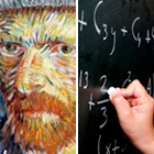 art and science, Vincent van Gogh portrait, hand writing formulas chalkboard