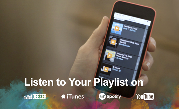 BBC Playlister, radio app, Apple iPhone, mobile phone, music playlist, Deezer logo, iTunes logo, Spotify logo, YouTube logo