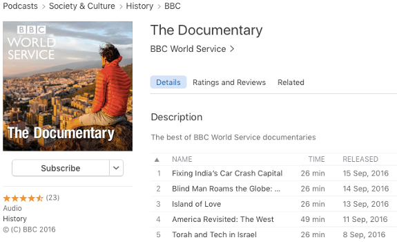 Giving listeners instant gratification by podcasting new content immediately is a good way for this (image: iTunes / BBC)