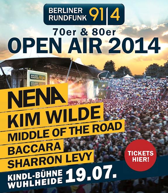 Berliner Rundfunk 91.4, 70er & 80er Open Air 2014, Nena, Kim Wilde