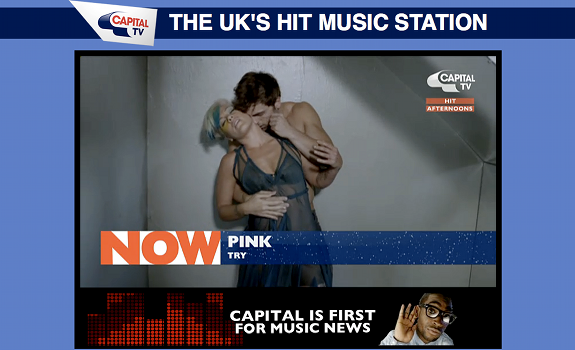 Capital TV, Capital FM, video player on radio website, music video, Try, Pink
