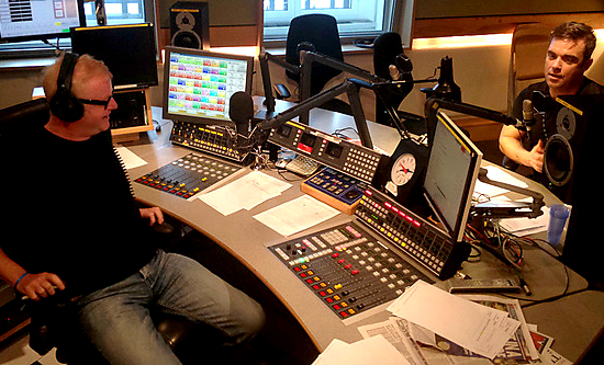 Chris Evans, Robbie Williams, BBC Radio 2, broadcast studio, radio studio