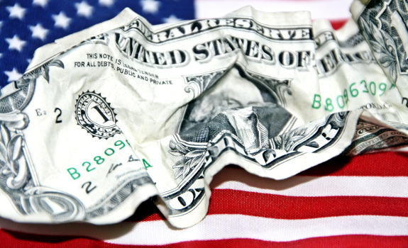 crumpled US dollar bill, crumpled American dollar bill, US flag, American flag