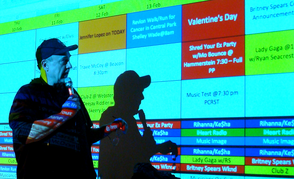 www.radioiloveit.com | Z100's Big Pix (this is a mock-up, not the real one) shows what's going on at the radio station on a given day: events, promotions, promos, liners, and more (photo: Thomas Giger)