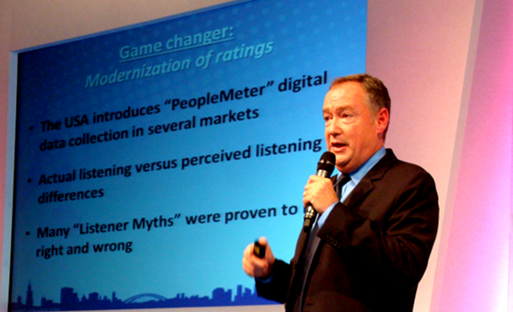 www.radioiloveit.com | Dennis Clark, Clear Channel Vice President of Talent Development, talks about the radio programming lessons that he learned from Portable People Meter audience research data, at the Radio Festival 2011 in Manchester (photo: Thomas Giger)