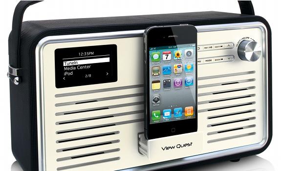DAB, Digital Audio Broadcasting, View Quest, digital radio receiver, vintage transistor design, iPhone docking station
