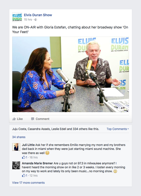Social media platforms (or radio station websites including social media elements, like a timeline feed, comment section and sharing possibilities) offer benefits for publishing and interaction (image: Facebook / Elvis Duran & The Morning Show)