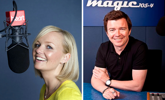 Emma Bunton, Heart 106.2, Rick Astley, Magic 105.4, broadcast studios, microphones, mixer