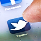 Facebook app icon, Twitter app icon, iPhone screen display, social media, mobile phone