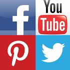 Facebook logo, YouTube logo, Pinterest logo, Twitter logo, social media logos