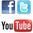 Facebook icon, Twitter icon, YouTube icon, YouTube logo