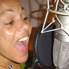 female jingle singer, studio recording session