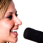 female radio presenter, female radio deejay, radio studio, microphone, headphones