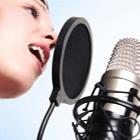 female singer, female voiceover, audio recording, studio microphone, microphone popscreen