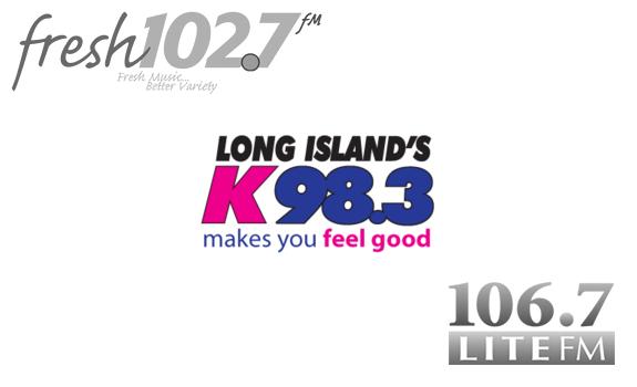 Fresh 102.7 logo, K-98.3 logo, 106.7 Lite fm logo
