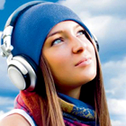 girl with headphones, listening to music, looking at sky