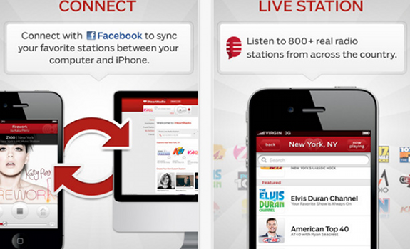 iHeartRadio iPhone app, Connect with Facebook to sync your favorite stations between your computer and iPhone, Listen to 800+ real radio stations from across the country, Elvis Duran Channel, American Top 40 with Ryan Seacrest