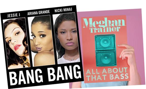 Jessie J, Ariana Grande, Nicki Minaj, Bang Bang, Meghan Trainor, All About That Bass, single covers