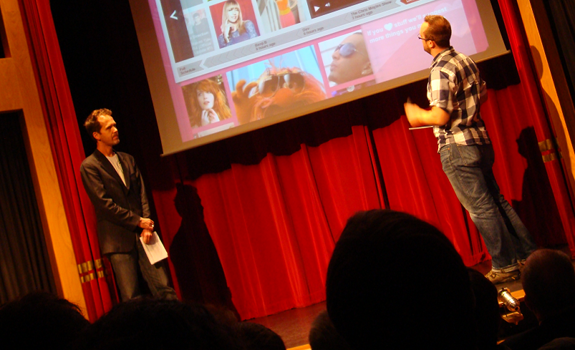 Joe Harland and Sam Bailey show the new BBC Radio 1 website to the nextrad.io audience (photo: Thomas Giger)