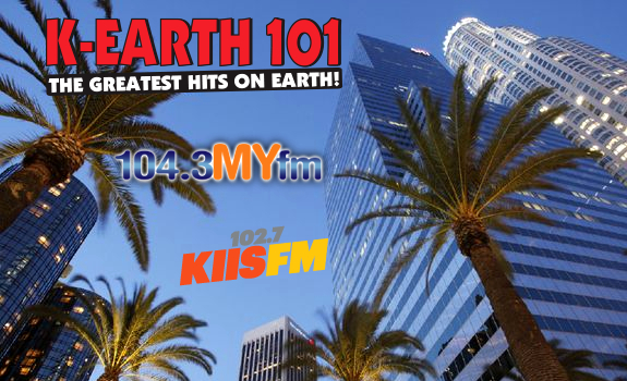 K-EARTH 101 logo, 104.3 MYfm logo, 102.7 KIIS-FM logo, Los Angeles downtown