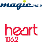 Magic 105.4 logo, Heart 106.2 logo