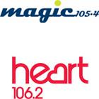 Magic 105.4 logo, Heart 106.2 logo