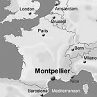 Montpellier, France, Europe, map