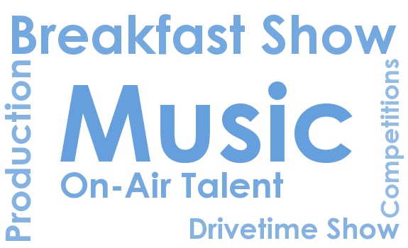 music scheduling, breakfast show, drivetime show, on-air talent, imaging production, radio competitions
