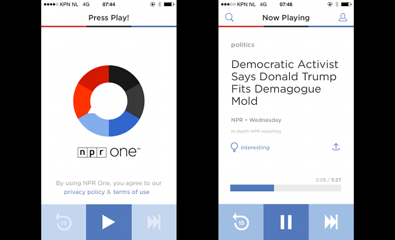 National Public Radio, NPR, NPR One, mobile radio app, radio on demand, personalized radio content