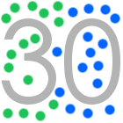 30, number 30, 15 green dots, 15 blue dots