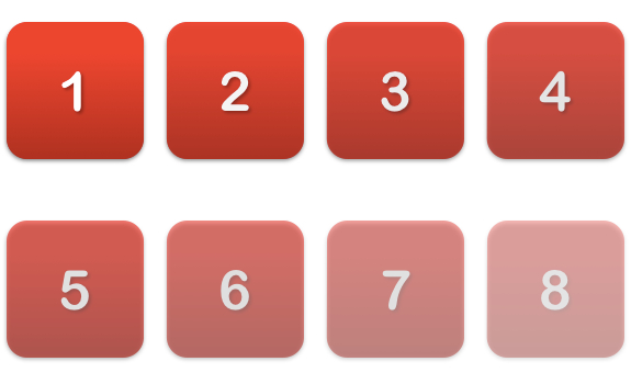 numbers, 1, 2, 3, 4, 5, 6, 7, 8, red color, decreasing intensity