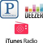 Pandora logo, Deezer logo, iTunes Radio logo