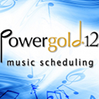 Powergold logo, Powergold 12 logo, music scheduling