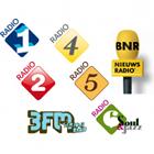 NPO Radio 1 logo, NPO Radio 2 logo, NPO 3FM logo, NPO Radio 4 logo, NPO Radio 5 logo, NPO Radio 6 logo, BNR Nieuwsradio logo