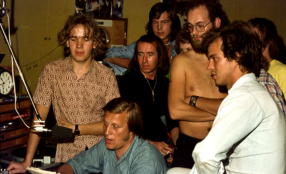 www.radioiloveit.com | Discjockeys, presenters and technicians of Radio North Sea International in the studio of the transmitter ship, in the last days before the closedown in August 1974 as a result of the Dutch government's ratification of the 'anti-piracy' Strasbourg Convention (photo: Lion Keezer)