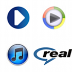 Radioplayer logo, UK Radioplayer logo, Windows Media Player logo, iTunes logo, Real Player logo