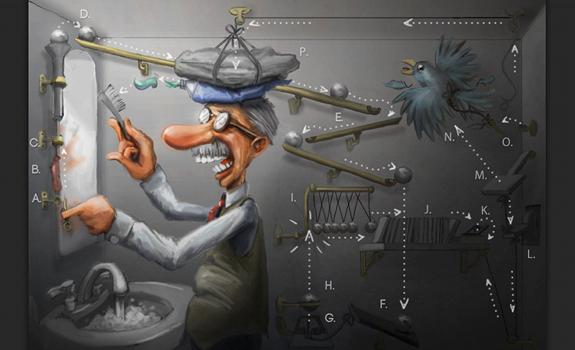 Rube Goldberg machine, cartoon