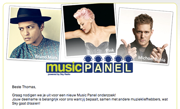 Sky Radio Music Panel, online music research, online music testing, online music survey, participant invitation email